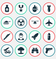 warfare icons set collection of slug chopper vector image vector image