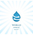 water drop with human hand logo design vector image vector image