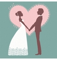 Wedding invitation Silhouette of bride and groom vector image vector image