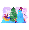 winter outdoor fun concept vector image vector image