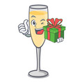 with gift champagne mascot cartoon style vector image