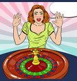 woman behind roulette table celebrating big win vector image vector image