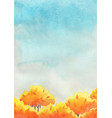 yellow autumn trees in park with blue sky watercol vector image vector image