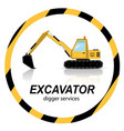 yellow excavator digger machines on banner vector image