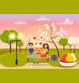 Young male and female sits on bench and holds gift vector image