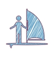 silhouette striped of man with sailing surfboard vector image