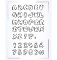 doodle alphabet drawn on the page notebook vector image