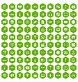100 video icons hexagon green vector image vector image