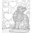 adult coloring bookpage a cute cat on the vector image