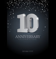 anniversary 10 silver 3d numbers vector image vector image