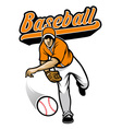baseball pitcher throwing ball vector image vector image