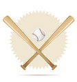 baseball retro banner with bats and ball vector image vector image