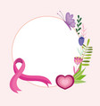 breast cancer pink ribbon heart flowers butterfly vector image vector image