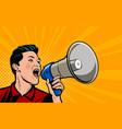 businessman shouting loudly into loudspeaker vector image