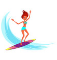 cartoon cheerful young woman in swimsuit riding on vector image vector image
