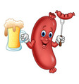 cartoon sausage holding beer and sausage on fork vector image vector image