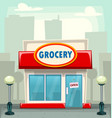cartoon typical grocery retail store building vector image vector image