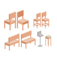 chairs set in colorful silhouette over white vector image