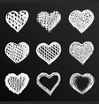 chalkboard sketch hand drawn hearts set vector image