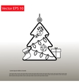 Christmas Outline Tree vector image
