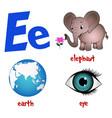 cute kids cartoon alphabet letter e