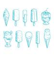 doodle ice cream cones set hand drawn vector image vector image