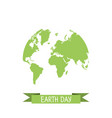 earth day with world map on a white background vector image vector image