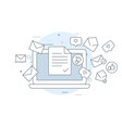 email marketing icon - laptop and flying vector image vector image