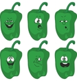 Emotion cartoon green pepper vegetables set 014 vector image vector image