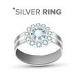 fashion female jewelry diamond silver ring vector image vector image
