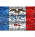 Flag of Iowa on a brick wall vector image