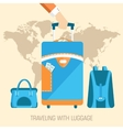 flat travel with baggage design concept background vector image