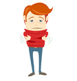 Frustrated hipster character trembling with fever vector image vector image