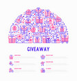 giveaway or gifts concept in half circle vector image