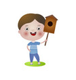 happy smiling boy take in hand bird wood house vector image