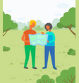 hikers with map in city park couple on meadow vector image vector image