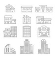 house and business buildings linear vector image
