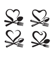 icons with spoon fork and heart vector image vector image