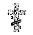 In Memory Concept - Funeral Cross Icon with Text vector image vector image