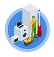 isometric repair household appliances concept vector image