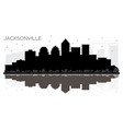jacksonville florida city skyline black and white vector image vector image