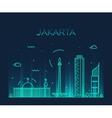 Jakarta skyline trendy linear vector image vector image