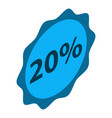 minus 20 percent sale icon isometric style vector image vector image