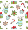 mouse gift christmas seamless pattern illus vector image vector image