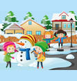 neighborhood scene with kids playing with snowman vector image vector image