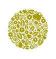 nice childish circle composition flowers vector image