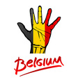 Open hand painted Belgium flag painted lettering vector image vector image