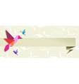 origami hummingbird floral banner vector image vector image