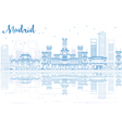 Outline Madrid Skyline with blue buildings vector image