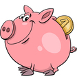 piggy bank with coin cartoon vector image